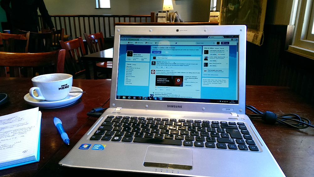 Laptop in a coffee shop