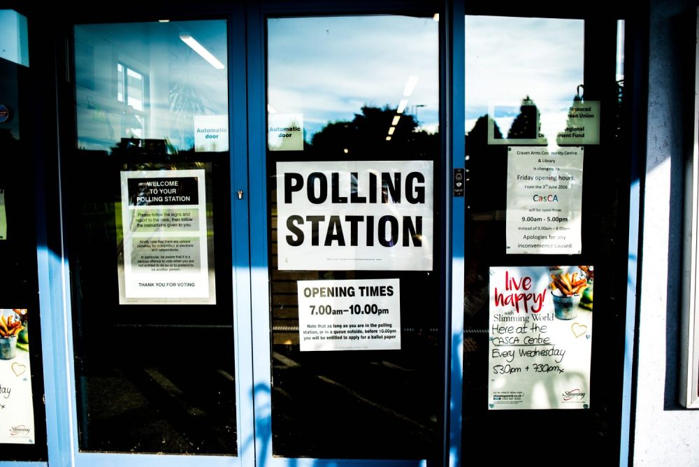 A polling station door