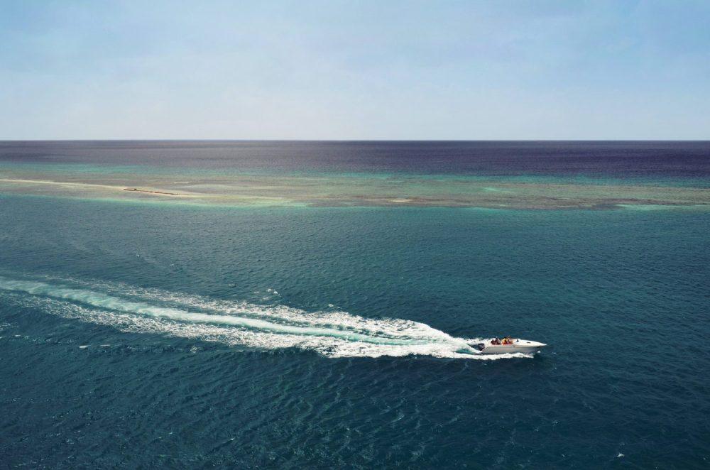 Speedboat creating waves